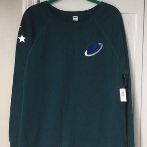 NWT teal sweatshirt Saturn stars size large